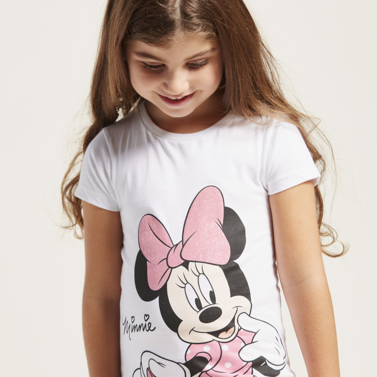Minnie Mouse Print T-shirt with Round Neck and Short Sleeves