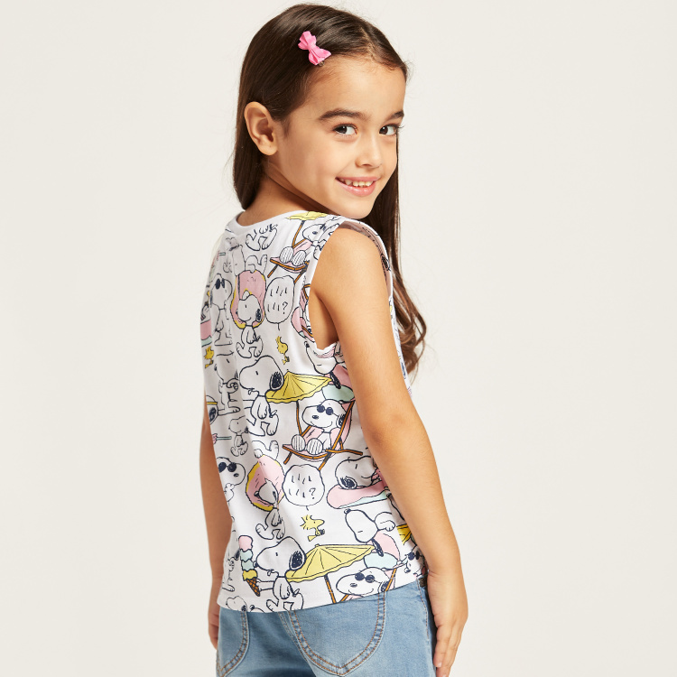 All-Over Snoopy Print Sleeveless T-shirt with Knot Detail