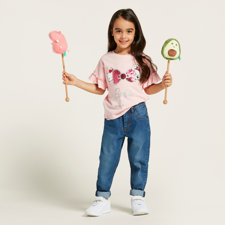 Sanrio Hello Kitty and Barbie Embellished T-shirt with Short Sleeves