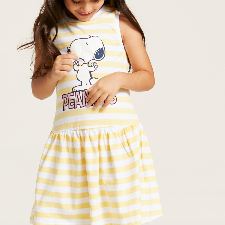 Peanuts Themed Snoopy Print Striped Sleeveless Dress