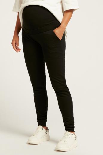 Love Mum Solid Maternity Jog Pants with Pocket Detail