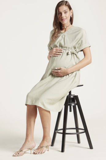 Love Mum Solid Twill Dress with Short Sleeves and Side Tie-Up