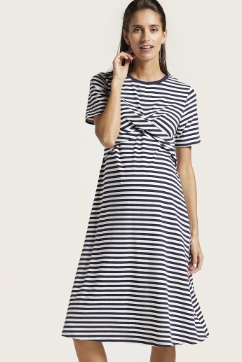 Love Mum Maternity Striped Dress with Short Sleeves