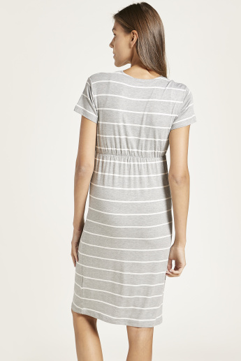 Love Mum V-neck Striped Maternity Dress with Short Sleeves