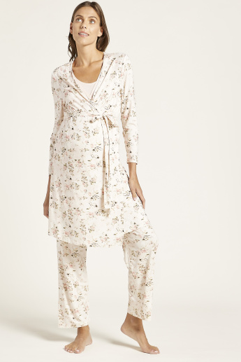 Love Mum Floral Print Maternity Robe with Long Sleeves