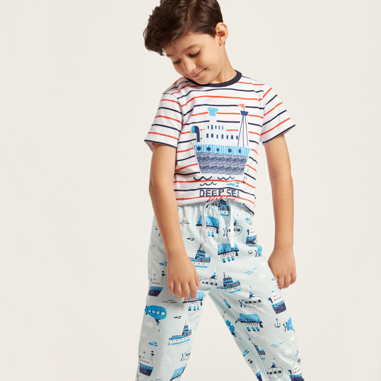 Juniors Nautical Print Short Sleeves T-shirt and Pyjama Set