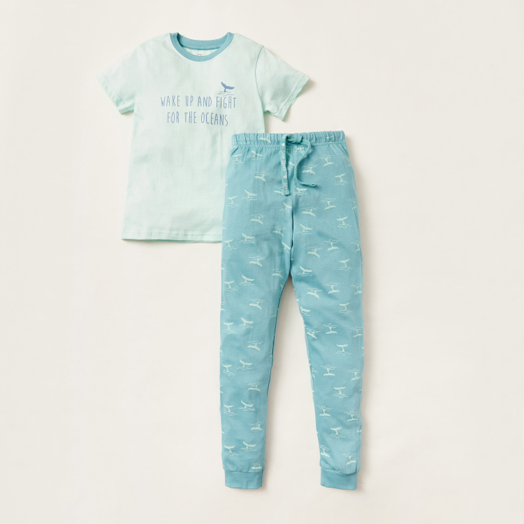 Love Earth Printed Round Neck T-shirt and Joggers Set