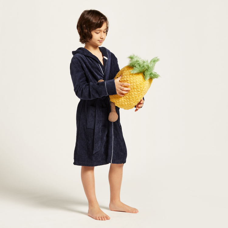 Juniors Textured Bathrobe with Hood and Tie-Ups