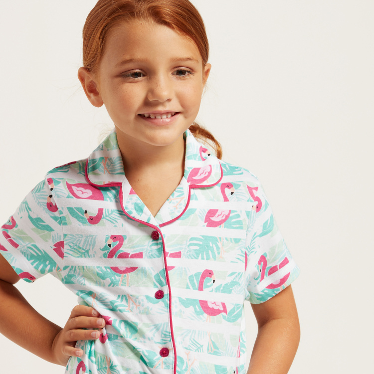 Juniors Flamingo Print Shirt and Full-Length Pyjama Set