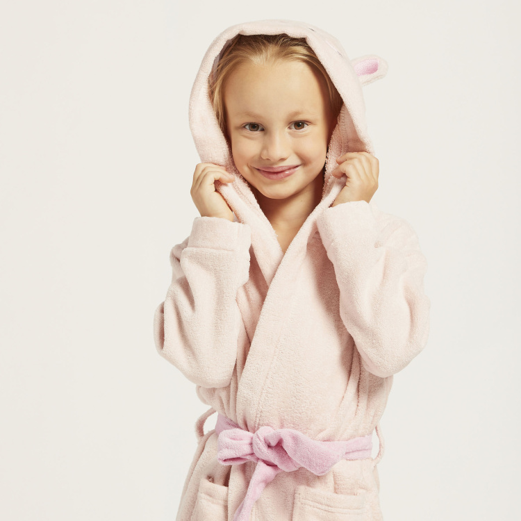 Juniors Textured Bathrobe with Hood and Patch Pockets