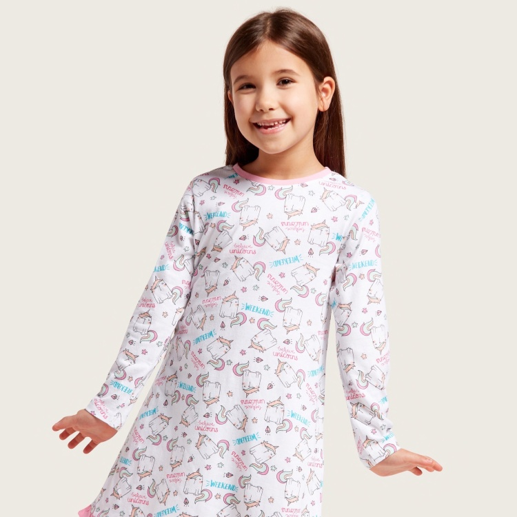 Juniors Graphic Print Sleep Dress with Long Sleeves - Set of 2
