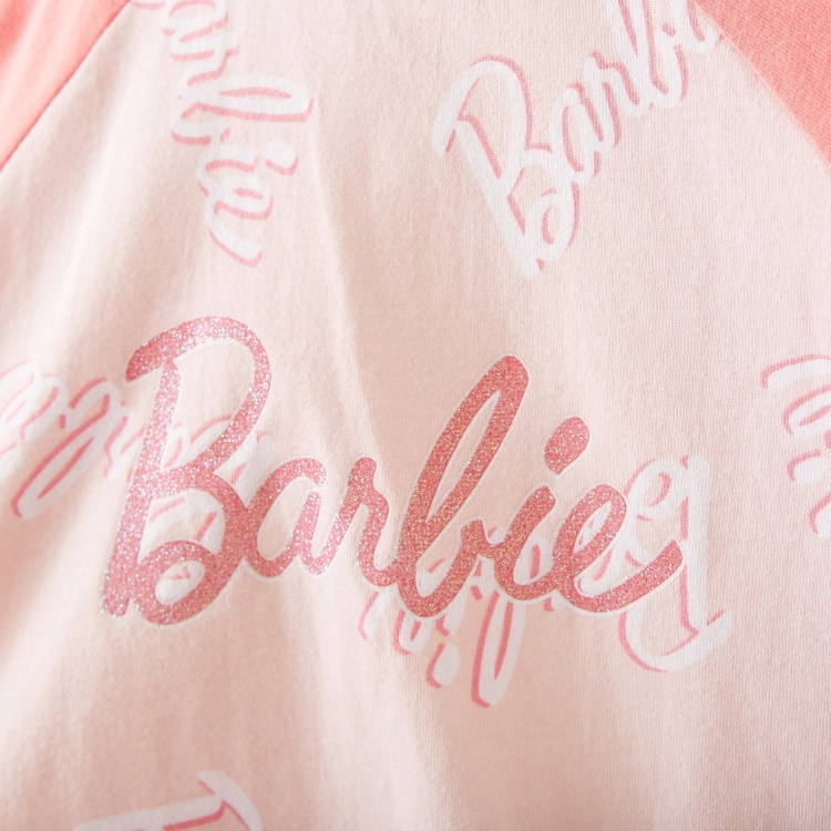 Barbie Print Nightdress with Round Neck and Long Sleeves