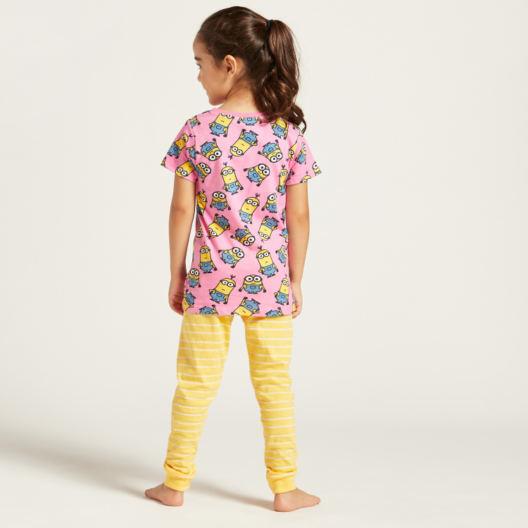 All-Over Minions Print T-shirt and Pyjama Set