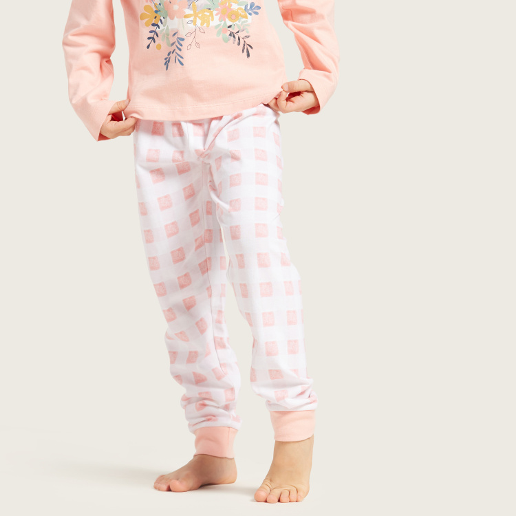 Carte Blanche Graphic Print Long Sleeves T-shirt and Pyjama Set