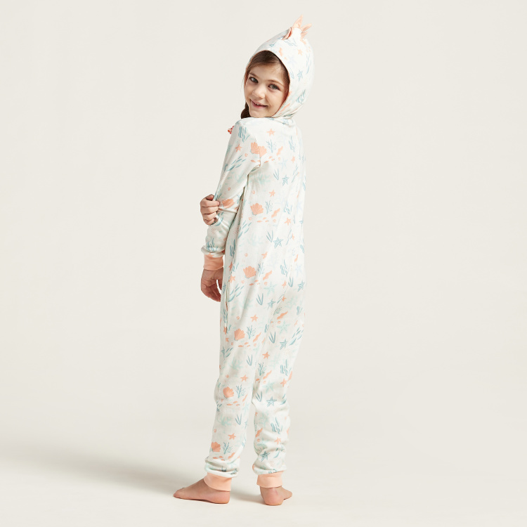 Love Earth All-Over Print Onesie with Long Sleeves and Hood