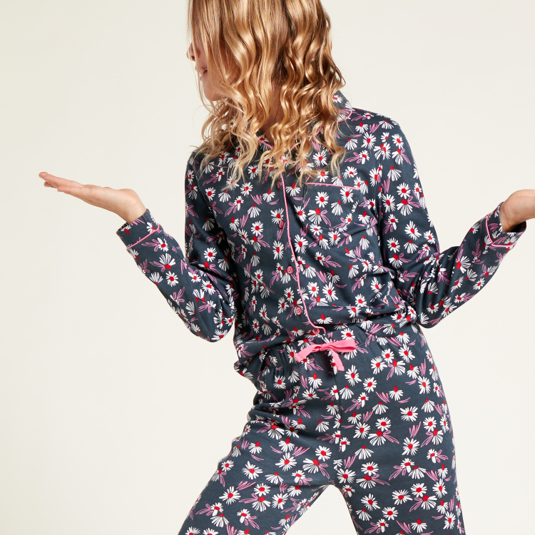 Juniors All-Over Floral Print Sleepshirt and Pyjama Set
