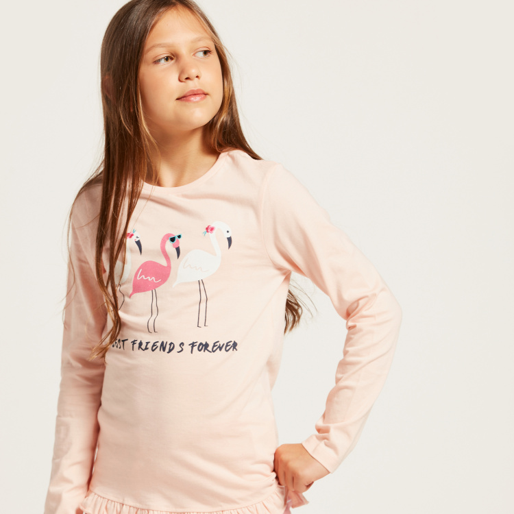 Juniors Graphic Print Long Sleeves T-shirt and Striped Pyjama Set