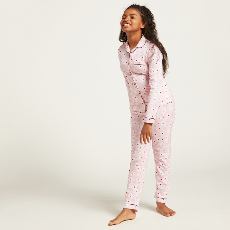 Juniors All-Over Print Long Sleeves Sleepshirt and Pyjama Set