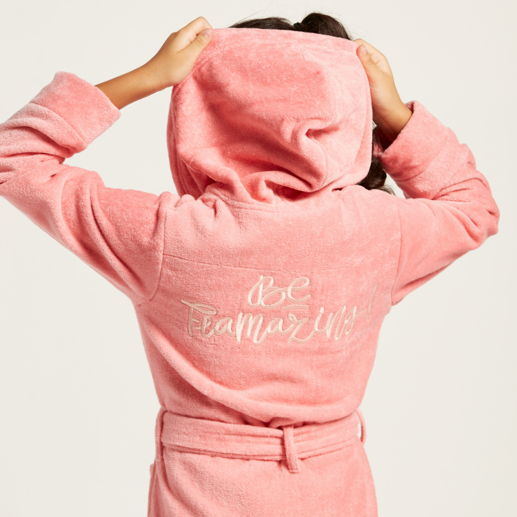 Juniors Embroidered Bathrobe with Hood and Long Sleeves