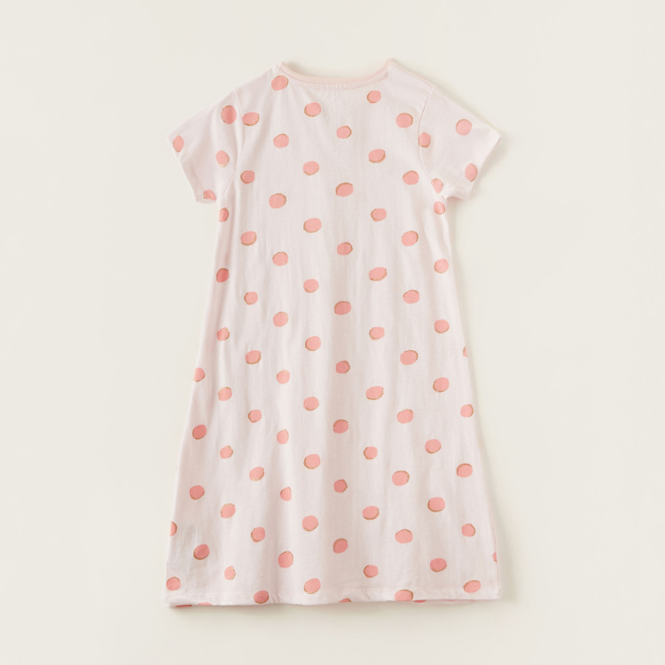 Juniors Polka Dot Print Round Neck Night Dress with Short Sleeves