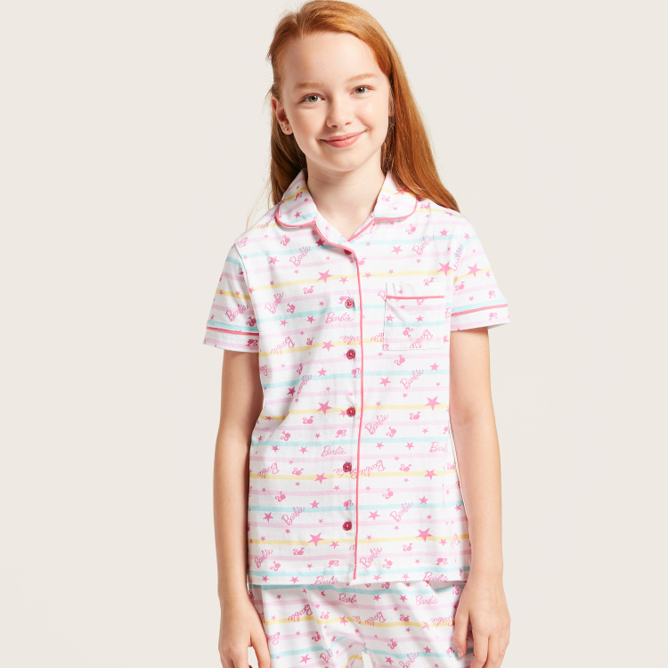 Barbie Print Sleep Shirt and Pyjama Set