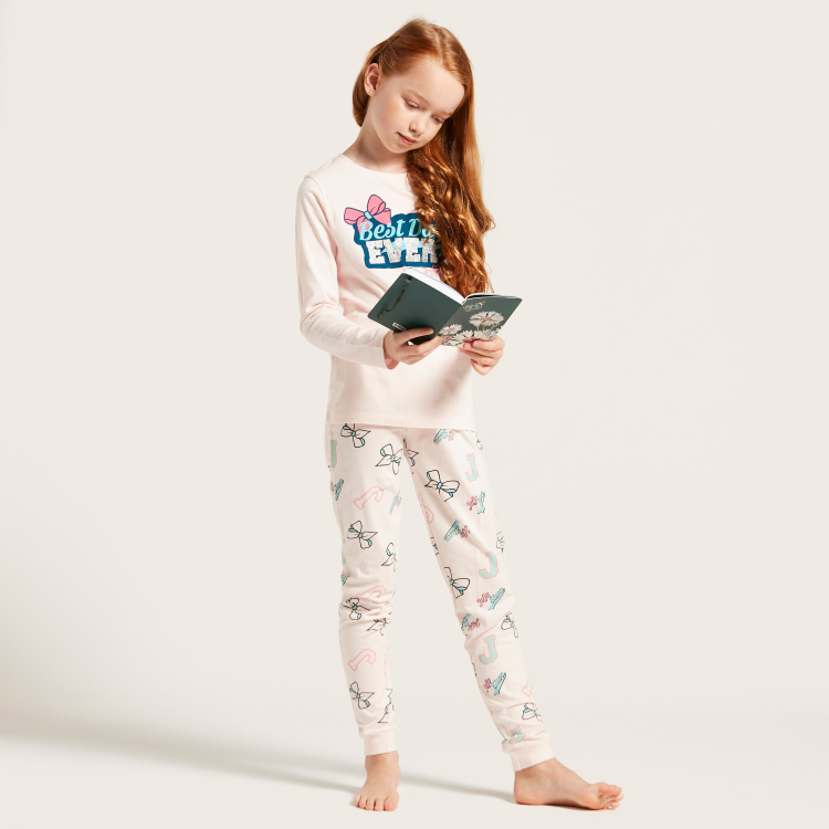 Graphic Print Round Neck T-shirt and Full-Length Pyjama Set
