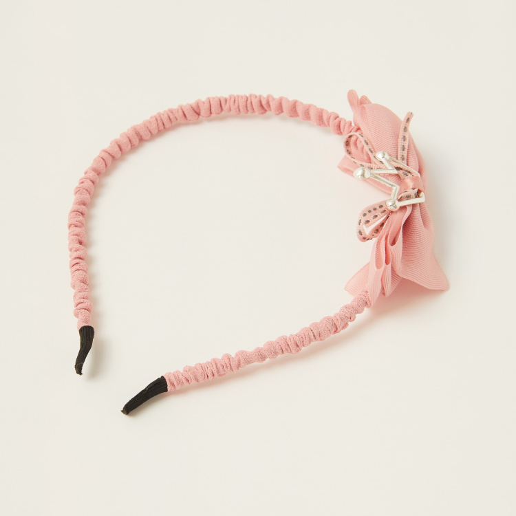 Juniors Textured Hairband with Bow Detail