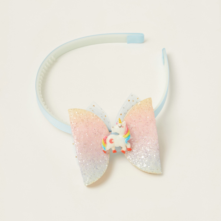 Juniors Ombre Hairband with Unicorn and Bow Accent