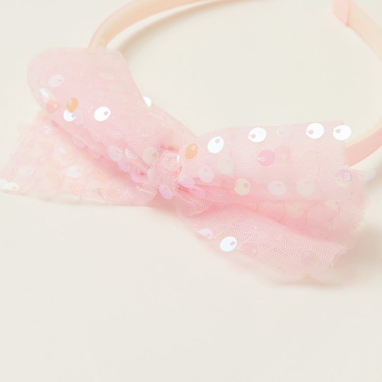 Juniors Hairband with Sequin Embellished Bow