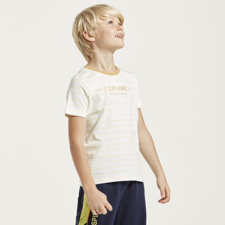 Juniors Striped T-shirt with Round Neck and Short Sleeves