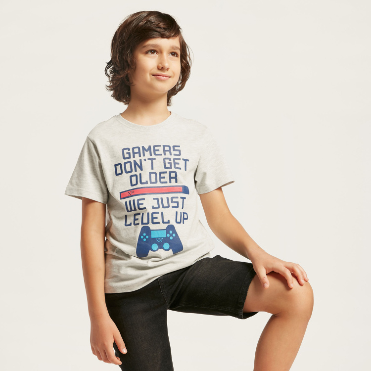 Juniors Printed Round Neck T-shirt with Short Sleeves