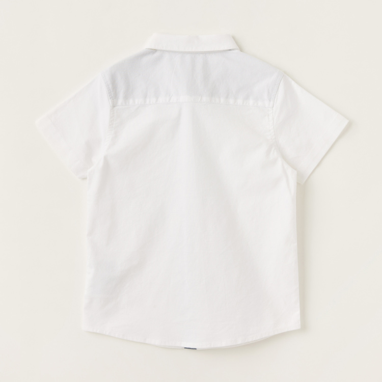 Juniors Solid Shirt with Spread Collar and Short Sleeves