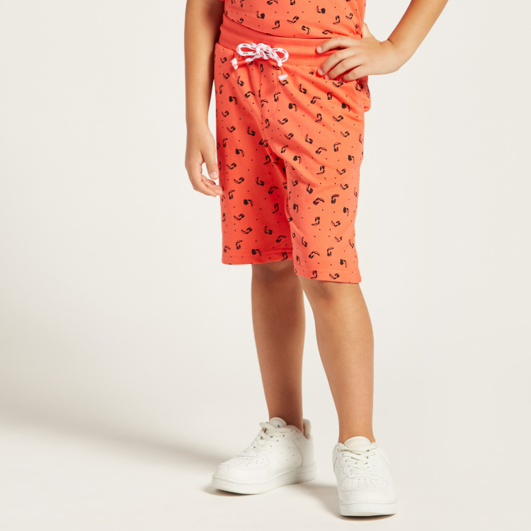 Juniors All-Over Print Shorts with Drawstring Closure