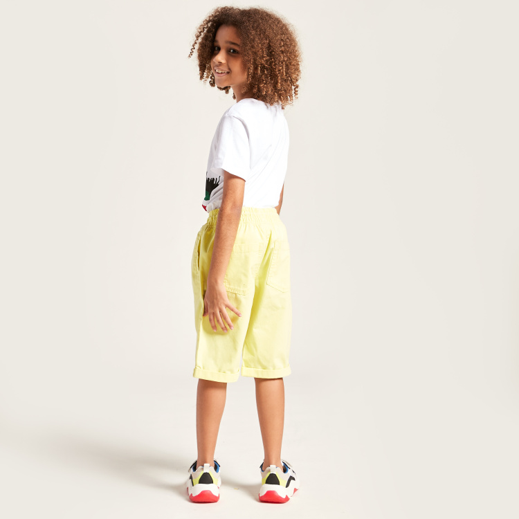 Juniors Solid Shorts with Pocket Detail and Drawstring Closure