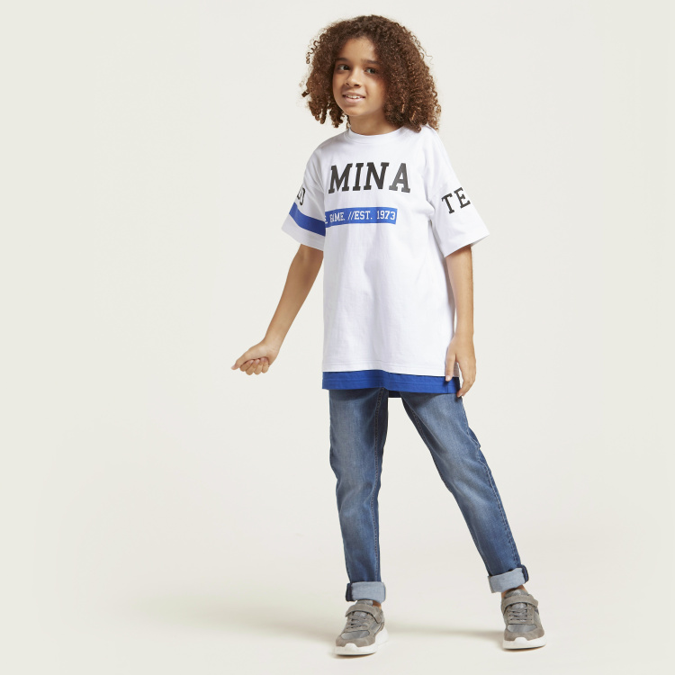 Juniors Graphic Print T-shirt with Short Sleeves
