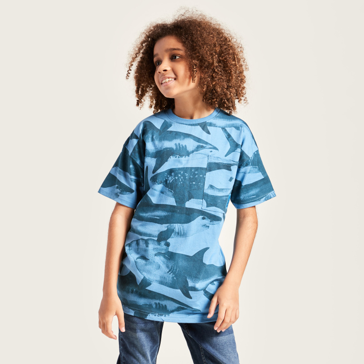 Juniors Camouflage Print Round Neck T-shirt with Short Sleeves
