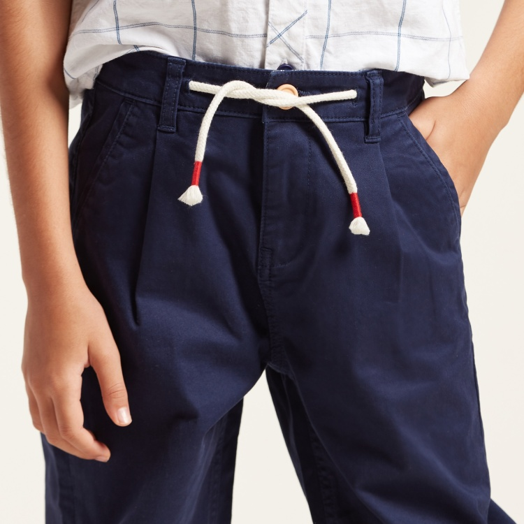 Juniors Solid Pants with Pocket Detail and Contrasting Hem