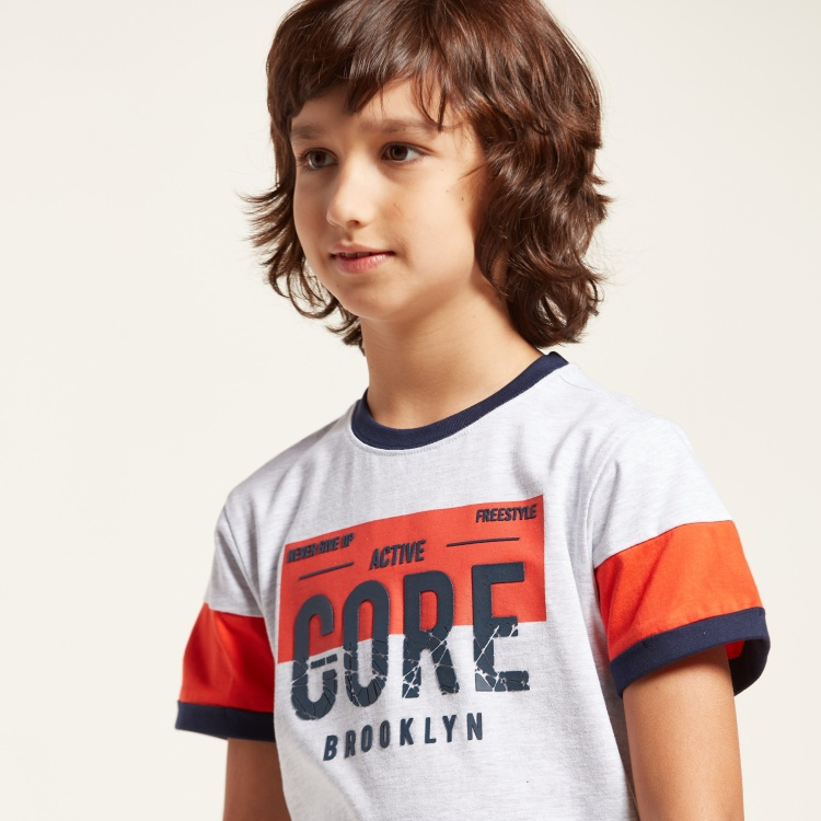 Juniors Round Neck Printed T-shirt with Short Sleeves