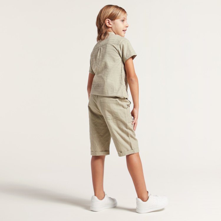 Eligo Solid Shorts with Pocket Detail and Button Closure