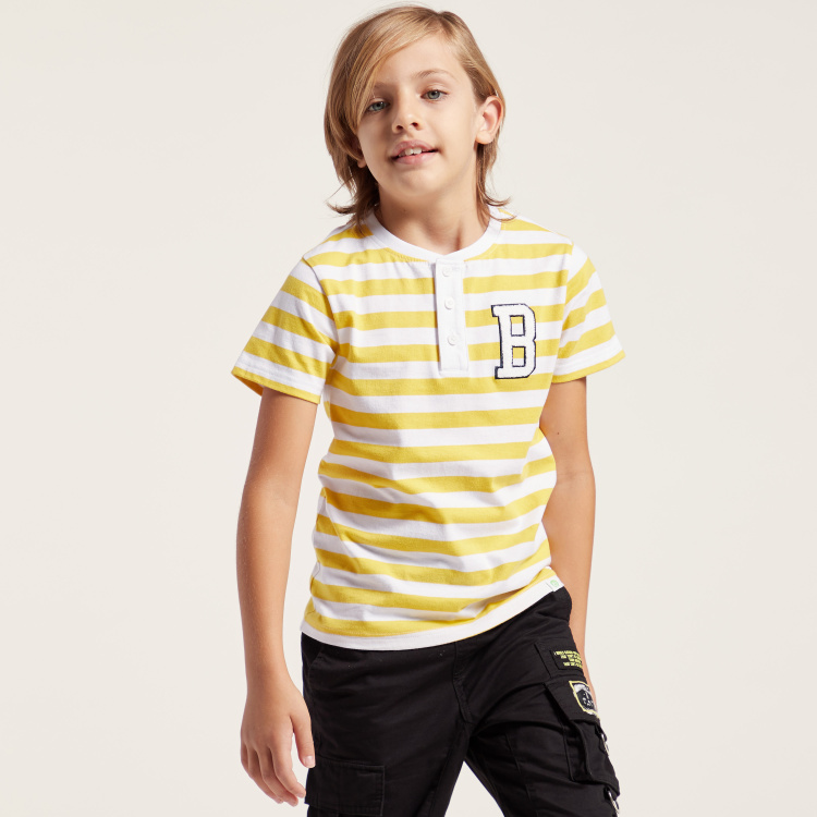Bossini Striped T-shirt with Henley Neck and Short Sleeves