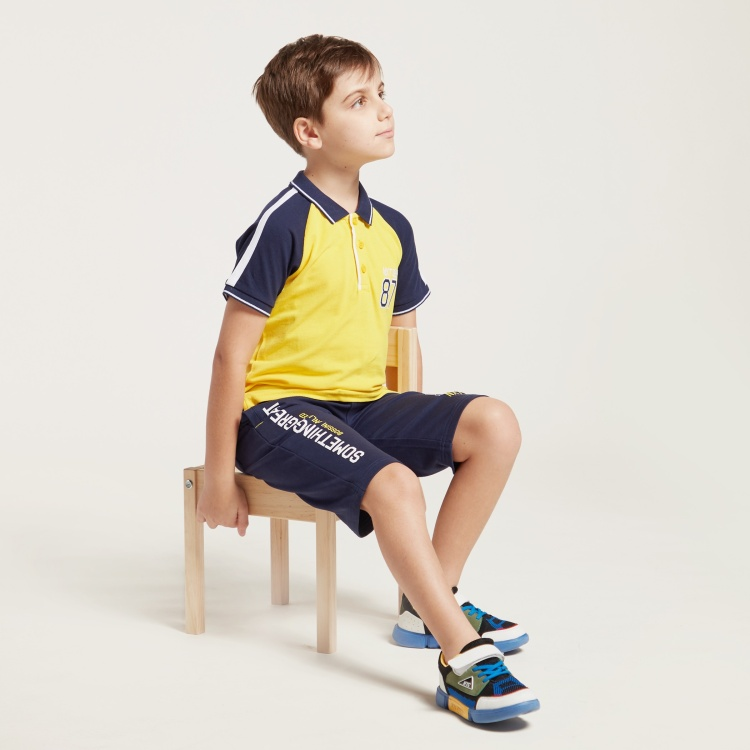 Bossini Colourblocked Polo T-shirt with Short Sleeves