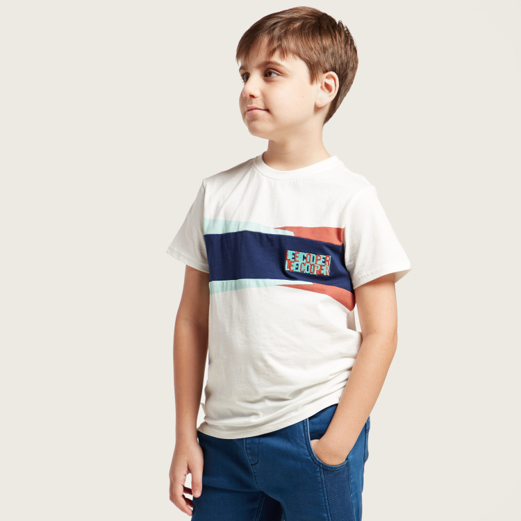 Lee Cooper Embroidered Detail T-shirt with Short Sleeves