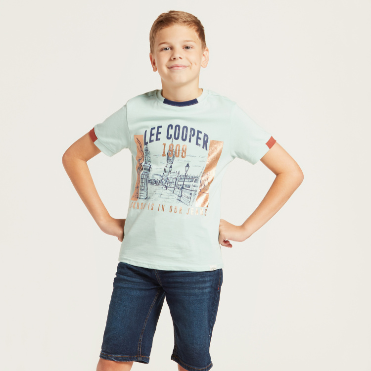 Lee Cooper Foil Print T-shirt with Crew Neck and Short Sleeves