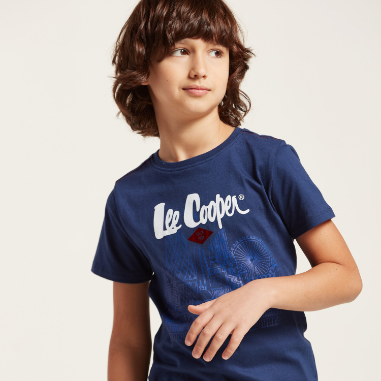 Lee Cooper Print Round Neck T-shirt and Denim Shorts Set