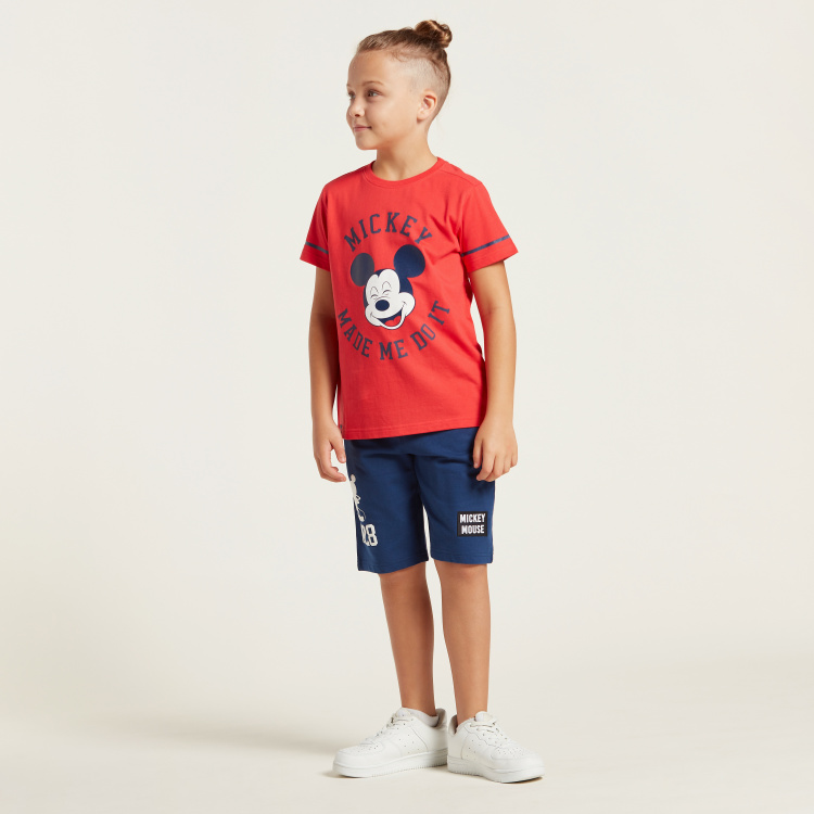 Mickey Mouse Print Shorts with Pockets and Drawstring