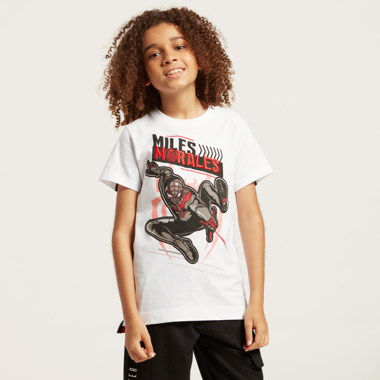 Spider-Man Graphic Print T-shirt with Crew Neck and Short Sleeves