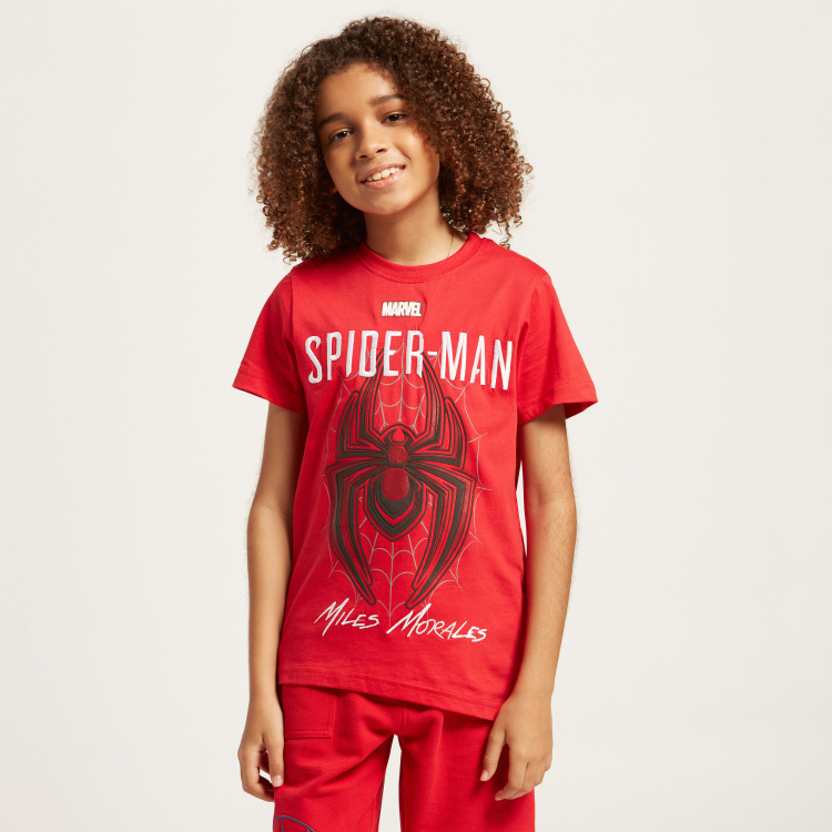 Spider-Man Embroidered Detail T-shirt with Short Sleeves