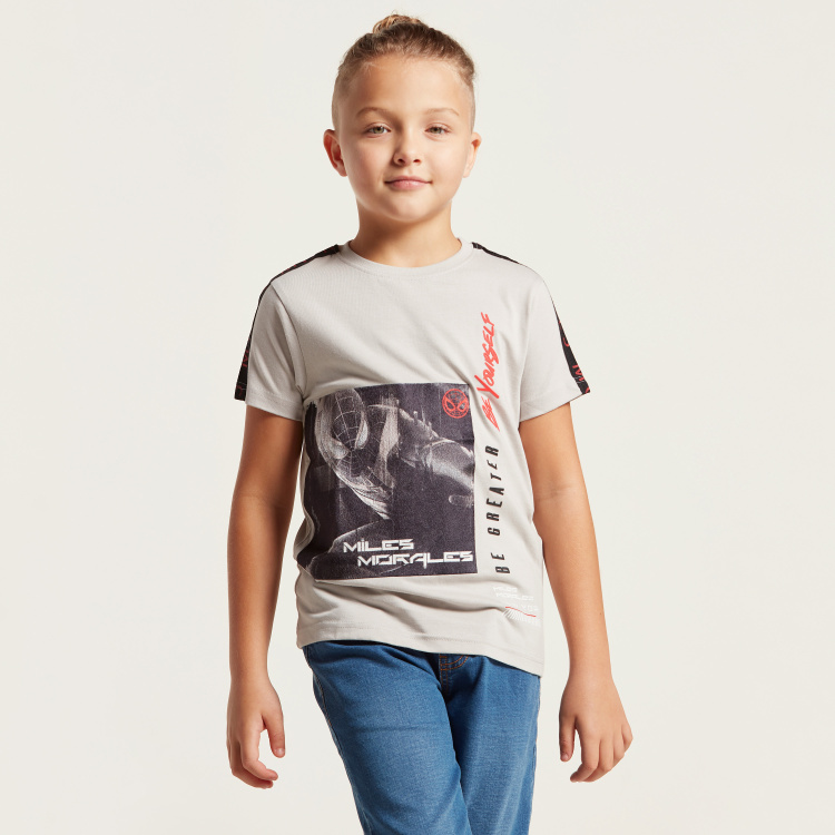 Spider-Man Graphic Print T-shirt with Short Sleeves