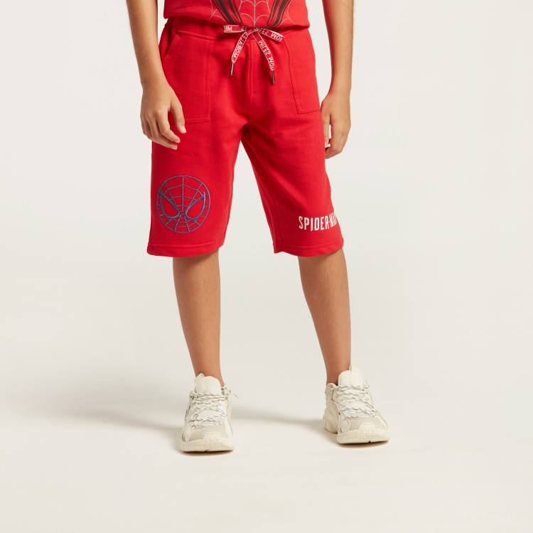 Spider-Man Print Knit Shorts with Pockets and Elasticised Waistband