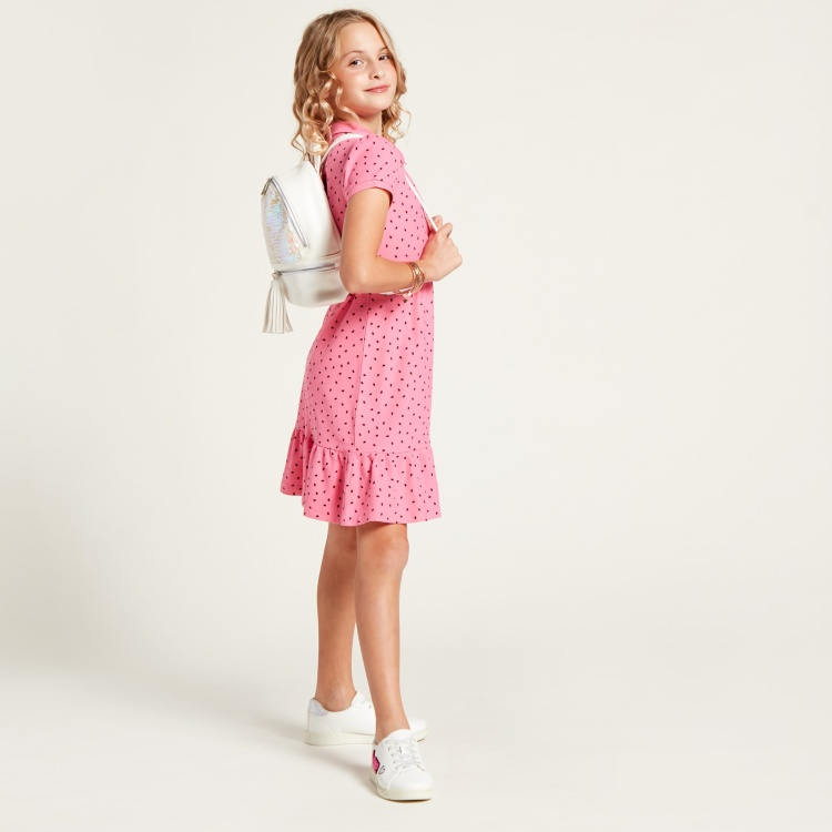 Juniors Ditsy Print Polo Dress with Short Sleeves
